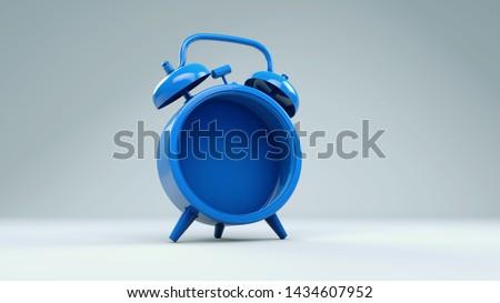 Alarm clock rendered in 3d empty inside . Conceptual image of alarm clock, timepiece rendered 3d