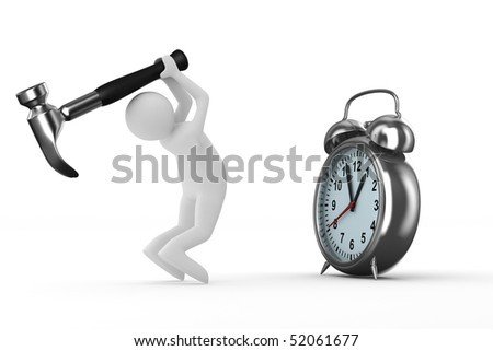 Alarm clock repair. Isolated 3D image on white