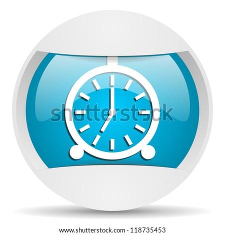 alarm clock round blue web icon on white background