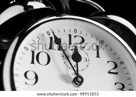 Alarm Clock showing five minutes to twelve
