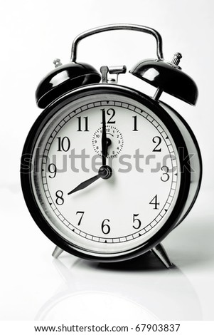 Alarm clock showing 8 o'clock