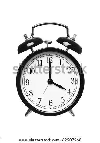 Alarm clock shows Four o`clock isolated on white background