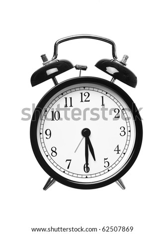 Alarm clock shows half past five isolated on white background