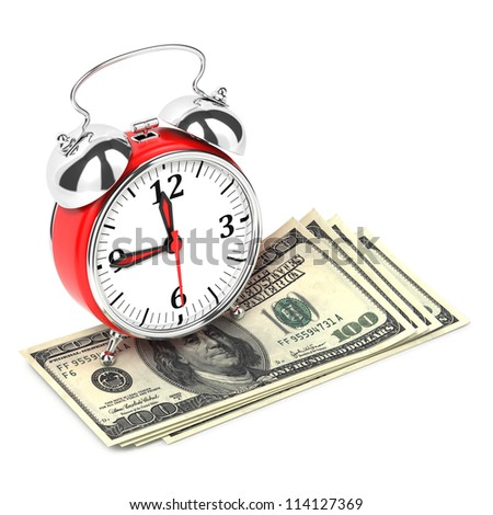 Alarm Clock standing on Money. Time is Money Concept.