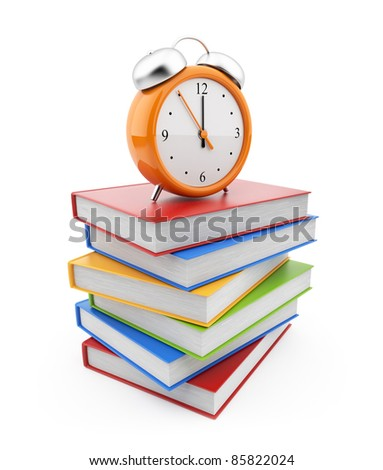 Alarm clock standing on stack of books. 3D Isolated on white