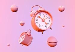 Alarm clock vintage rendering 3D