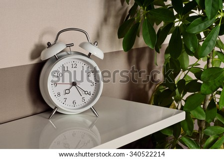 alarm clock with a potted plant close up #340522214