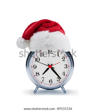 alarm clock with christmas santa hat