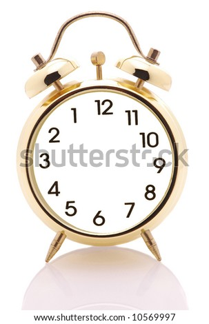 stock photo : Alarm Clock with no hands and Backwards Numbering isolated