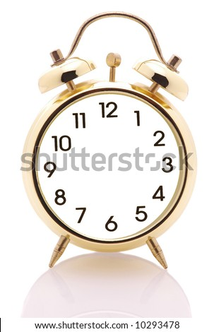 stock photo : Alarm Clock with no hands isolated over white with reflection