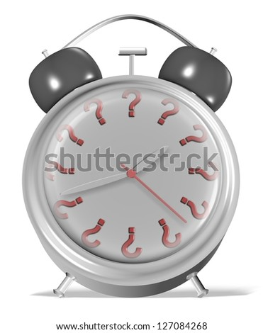 Alarm clock with numbers replaced by question marks / What is the time