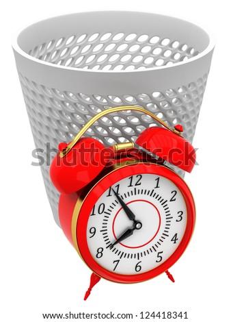 Alarm clocks in trash bin
