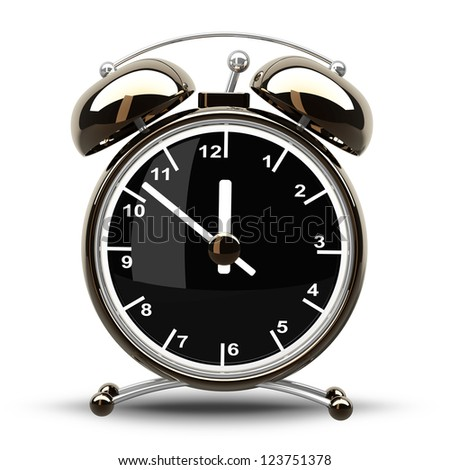 Alarm Golden clock isolated on a white background. High resolution 3d render