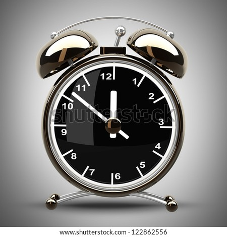 Alarm Golden clock on a gray background. High resolution 3d render