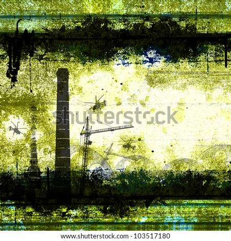 alarm status of the plant. The factory area. The disaster at the plant, grunge background with pipes