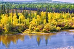 Alaska. Autumn landscape.River and forest.