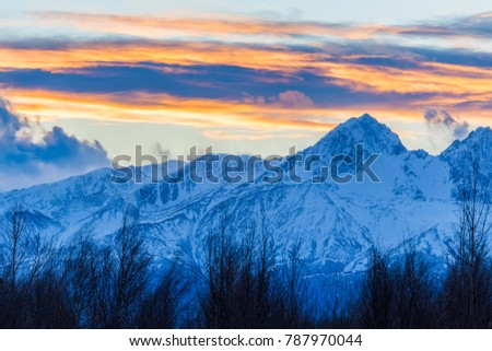 Alaska colorful mountain sunset #787970044