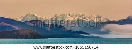Alaska inside passage cruise landscape panorama of nature background. Alaskan mountain range in Glacier Bay, Alaska, USA. Photo stock ©