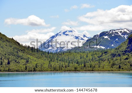 Alaska landscape lake, mountains and forest