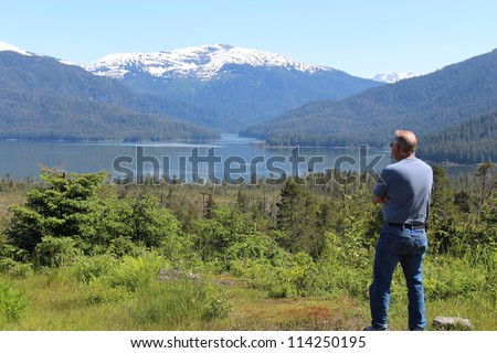 Alaska Landscape with Senior Man