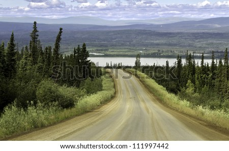Alaska, raw gravel road north from Fairbanks