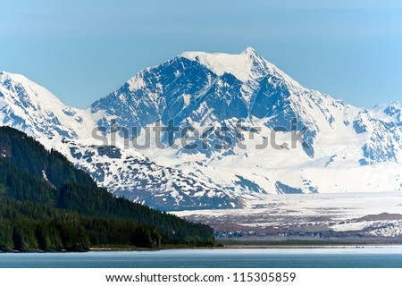 Alaska\'s snow capped mountain range and thick forest along the Inside Passage