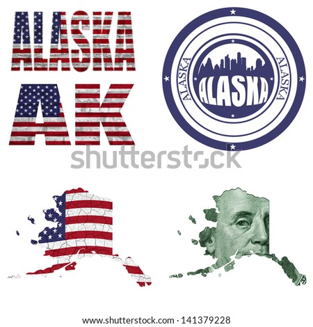 Alaska state collage (map, stamp,word,abbreviation) in different styles in different textures