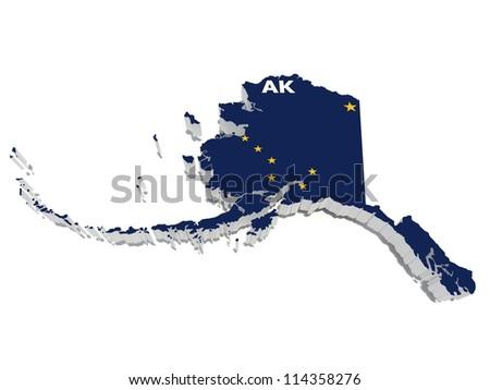 alaska state flag on 3d map - stock photo