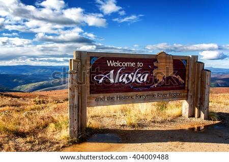 Alaska welcome sign Stock fotó ©