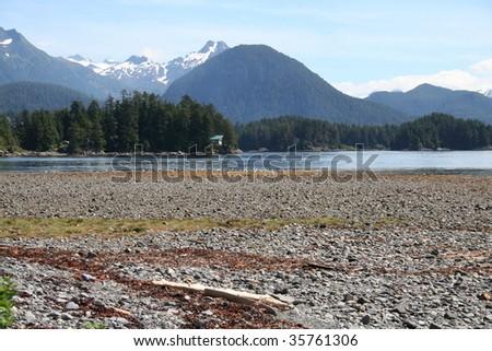 Alaskan beach and landscape with cabin near Sitka, Alaska