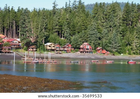 Alaskan resort along the Wrangell Narrows in Southeastern Alaska's Inside Passage