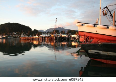 Alaskan Seine Skiff at Sunset