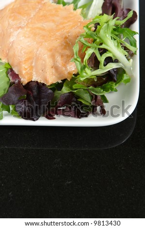 Alaskan smoked sockeye salmon starter on a bed of lettuce - stock photo