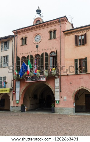 Alba, Italy - October 1, 2018: The City Hall in the historic town Alba in Tuscany in Italy #1202663491