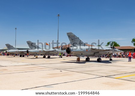 ALBACETE, SPAIN-JUN 23: Aircraft Dassault Mirage F1 taking part in an exhibition on the open day of the airbase of Los Llanos on Jun 23, 2013, in Albacete, Spain