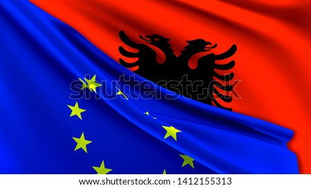 Albania and European Union Relations Concept - Merged Flags of Albania and the EU 3D Illustration