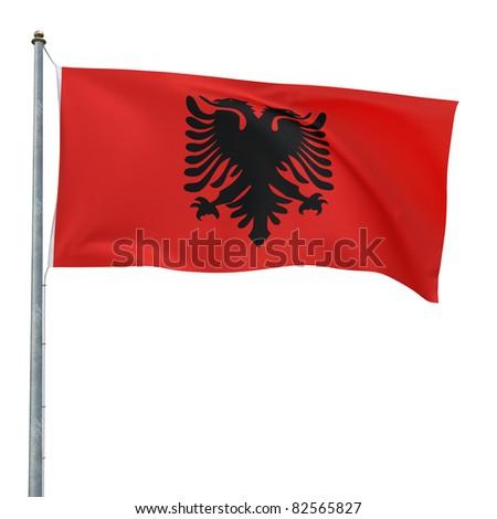 Albania flag (clipping path)