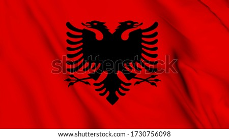 Albania flag is waving 3D animation. Albania flag waving in the wind. National flag of Albania, 3d rendering