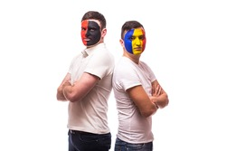 Albania vs Romania. Football fans of national teams before match on white background. European 2016 football fans concept.