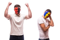 Albania vs Romania on white background. Football fans of national teams demonstrate emotions: Albania â?? win, Romania â?? lose. European 2016 football fans concept.