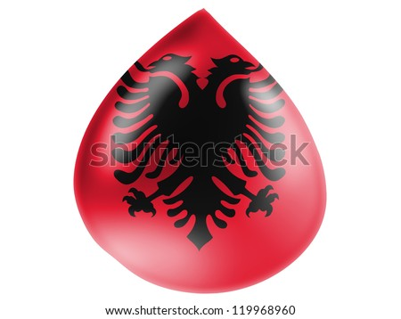 Albanian flag painted on 3D water drop