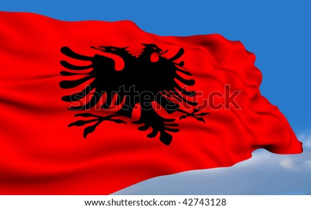 Albanian Flag Waving Albanian Flag Waving on Wind