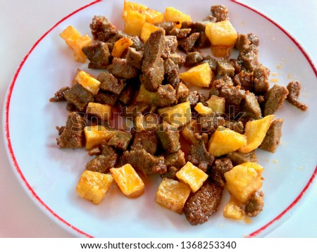 Albanian liver with Cubed Potatoes / Arnavut Cigeri. Traditional Cube Meat Food. #1368253340