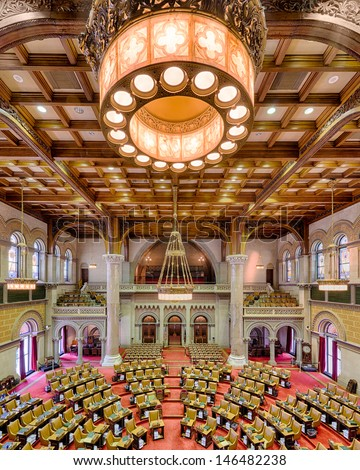 ALBANY, NEW YORK - JUNE 27: Assembly chamber (House of Representatives) in the New York State Capitol building on June 27, 2013 in Albany, New York
