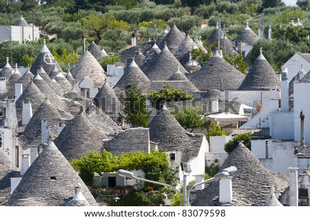 Alberobello (Bari, Puglia, Italy): Panoramic view of the trulli town