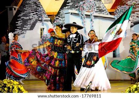 ALBEROBELLO, ITALY - 2, AUGUST 2008: Mexican Dancers at the International Folklore Festival in Alberobello, Italy, in August, 2008. These dancers belong to the Ballet Ateneo Fuente, Mexico.