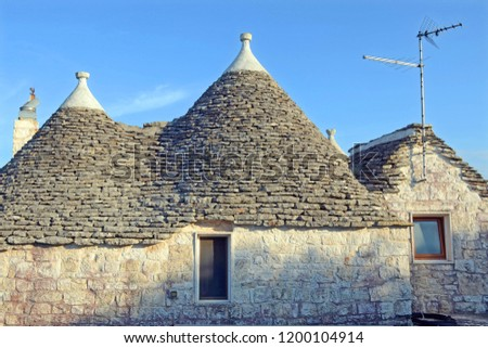 Alberobello, Italy, Puglia. Unique Trulli houses with conical roofs. Trullo, trulli, a traditional Apulian dry stone hut with a conical roof, heritage Unesco