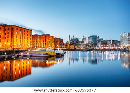Albert Dock at waterfront In Liverpool, England.