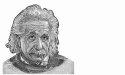 Albert Einstein (1879-1955) on 5 Pounds 1968 Banknote from Israel. German born theoretical physicist regarded as the father of modern physics. famous scientist of relativity. Closeup Collection.