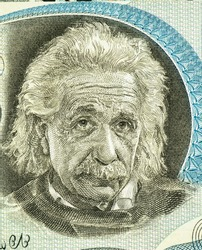 Albert Einstein (1879-1955). Portrait from Israel 5 Pounds 1968 Banknotes.